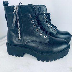 Forever 21 black combat boots platform lug sole